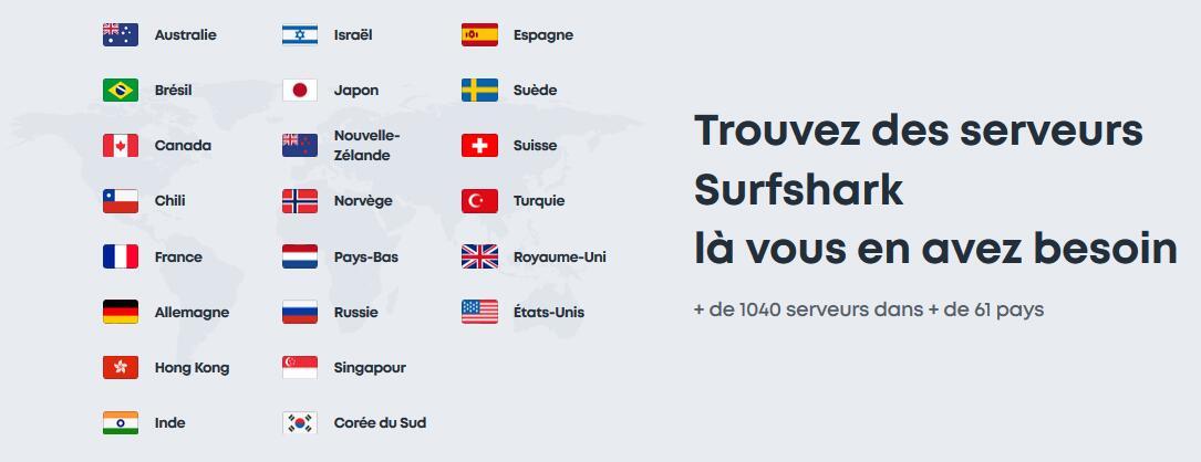 Plus de 1000 serveurs et 60 pays