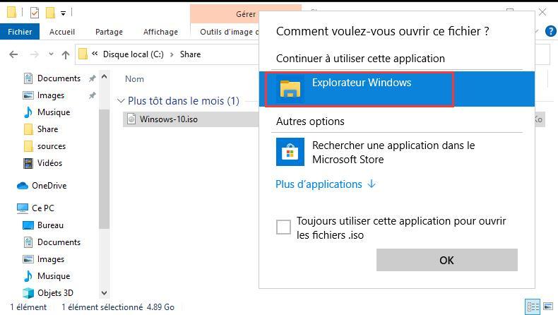 Ouvrir un Fichier ISO