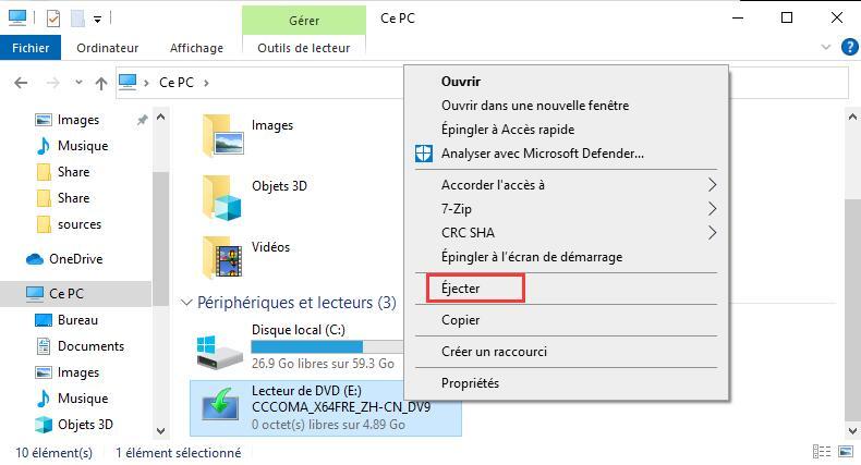 éjecter (démonter) des fichiers ISO