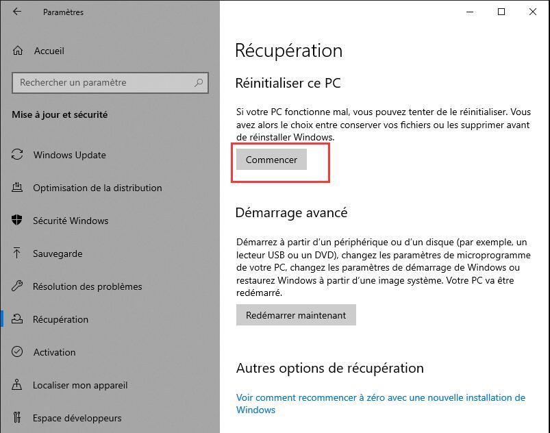 Réinitialiser Windows 10
