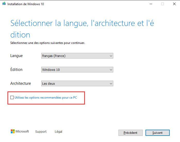 Télécharger l'ISO de Windows 10