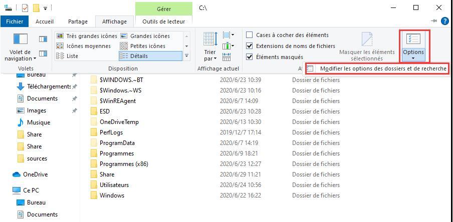Options de l'Explorateur de fichiers