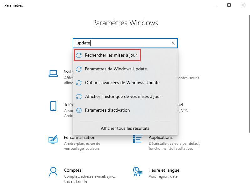 Mettre Windows à jour