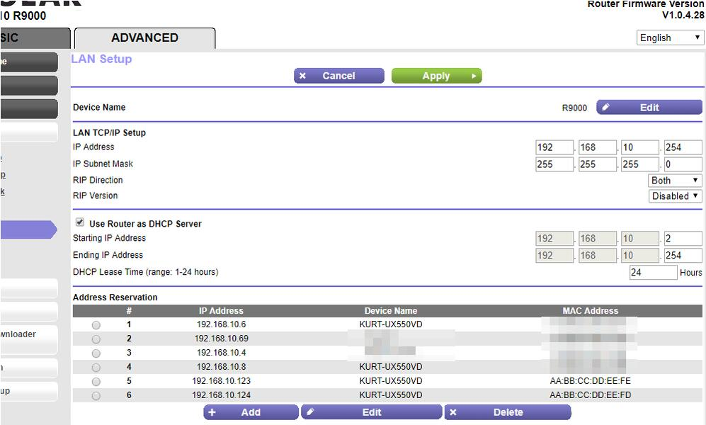 Réservation d'IP sur un routeur Netgear